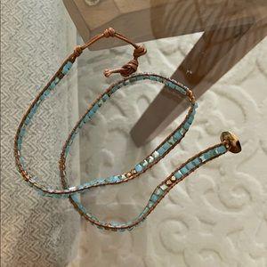 Blue and Gold Wrap Bracelet